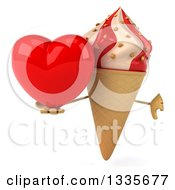 Clipart Of A 3d Strawberry And Vanilla Swirl Waffle Ice Cream Cone Character Giving A Thumb Down And Holding A Heart Royalty Free Illustration