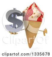 Clipart Of A 3d Strawberry And Vanilla Swirl Waffle Ice Cream Cone Character Giving A Thumb Down And Holding A Dollar Symbol Royalty Free Illustration