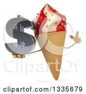 Clipart Of A 3d Strawberry And Vanilla Swirl Waffle Ice Cream Cone Character Holding Up A Finger And A Dollar Symbol Royalty Free Illustration
