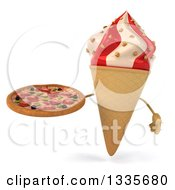 Clipart Of A 3d Strawberry And Vanilla Swirl Waffle Ice Cream Cone Character Holding A Pizza Royalty Free Illustration