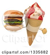 Clipart Of A 3d Strawberry And Vanilla Swirl Waffle Ice Cream Cone Character Holding And Pointing To A Double Cheeseburger Royalty Free Illustration