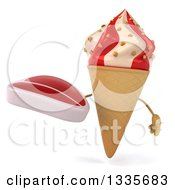 Clipart Of A 3d Strawberry And Vanilla Swirl Waffle Ice Cream Cone Character Holding A Beef Steak Royalty Free Illustration