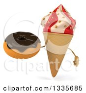 Clipart Of A 3d Strawberry And Vanilla Swirl Waffle Ice Cream Cone Character Holding A Chocolate Glazed Donut Royalty Free Illustration