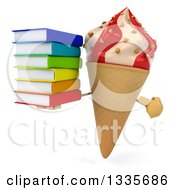 Clipart Of A 3d Strawberry And Vanilla Swirl Waffle Ice Cream Cone Character Holding And Pointing To A Stack Of Books Royalty Free Illustration