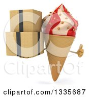 Clipart Of A 3d Strawberry And Vanilla Swirl Waffle Ice Cream Cone Character Giving A Thumb Up And Holding Boxes Royalty Free Illustration
