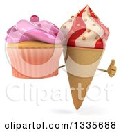 Clipart Of A 3d Strawberry And Vanilla Swirl Waffle Ice Cream Cone Character Giving A Thumb Up And Holding A Pink Frosted Cupcake Royalty Free Illustration