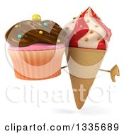 Clipart Of A 3d Strawberry And Vanilla Swirl Waffle Ice Cream Cone Character Giving A Thumb Down And Holding A Chocolate Frosted Cupcake Royalty Free Illustration