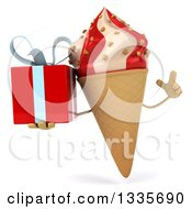 Clipart Of A 3d Strawberry And Vanilla Swirl Waffle Ice Cream Cone Character Holding Up A Finger And A Gift Royalty Free Illustration
