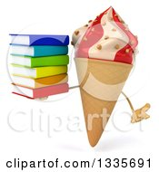 Clipart Of A 3d Strawberry And Vanilla Swirl Waffle Ice Cream Cone Character Shrugging And Holding A Stack Of Books Royalty Free Illustration