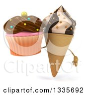 Clipart Of A 3d Chocolate And Vanilla Swirl Waffle Ice Cream Cone Character Holding A Cupcake Royalty Free Illustration