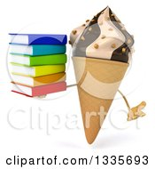 Clipart Of A 3d Chocolate And Vanilla Swirl Waffle Ice Cream Cone Character Shrugging And Holding A Stack Of Books Royalty Free Illustration