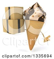 Clipart Of A 3d Chocolate And Vanilla Swirl Waffle Ice Cream Cone Character Shrugging And Holding Boxes Royalty Free Illustration