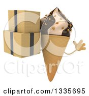 Clipart Of A 3d Chocolate And Vanilla Swirl Waffle Ice Cream Cone Character Jumping And Holding Boxes Royalty Free Illustration