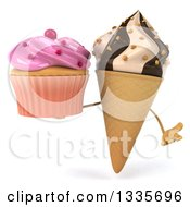 Clipart Of A 3d Chocolate And Vanilla Swirl Waffle Ice Cream Cone Character Shrugging And Holding A Pink Frosted Cupcake Royalty Free Illustration