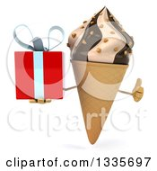 Clipart Of A 3d Chocolate And Vanilla Swirl Waffle Ice Cream Cone Character Giving A Thumb Up And Holding A Gift Royalty Free Illustration