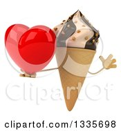 Clipart Of A 3d Chocolate And Vanilla Swirl Waffle Ice Cream Cone Character Jumping And Holding A Heart Royalty Free Illustration