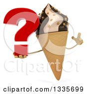 Clipart Of A 3d Chocolate And Vanilla Swirl Waffle Ice Cream Cone Character Holding Up A Finger And A Question Mark Royalty Free Illustration