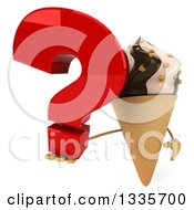 Clipart Of A 3d Chocolate And Vanilla Swirl Waffle Ice Cream Cone Character Holding Up A Question Mark Royalty Free Illustration