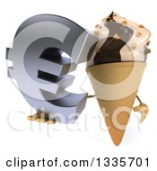 Clipart Of A 3d Chocolate And Vanilla Swirl Waffle Ice Cream Cone Character Holding Up A Euro Symbol Royalty Free Illustration