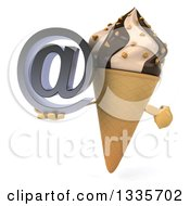 Clipart Of A 3d Chocolate And Vanilla Swirl Waffle Ice Cream Cone Character Holding And Pointing To An Email Arobase At Symbol Royalty Free Illustration