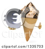 Clipart Of A 3d Chocolate And Vanilla Swirl Waffle Ice Cream Cone Character Giving A Thumb Up And Holding A Euro Symbol Royalty Free Illustration