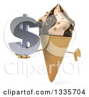 Clipart Of A 3d Chocolate And Vanilla Swirl Waffle Ice Cream Cone Character Giving A Thumb Down And Holding A Dollar Symbol Royalty Free Illustration