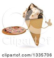 Clipart Of A 3d Chocolate And Vanilla Swirl Waffle Ice Cream Cone Character Holding Up A Finger And A Pizza Royalty Free Illustration