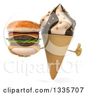 Clipart Of A 3d Chocolate And Vanilla Swirl Waffle Ice Cream Cone Character Giving A Thumb Up And Holding A Double Cheeseburger Royalty Free Illustration