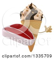 Clipart Of A 3d Chocolate And Vanilla Swirl Waffle Ice Cream Cone Character Jumping And Holding A Beef Steak Royalty Free Illustration