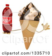 Clipart Of A 3d Chocolate And Vanilla Swirl Waffle Ice Cream Cone Character Jumping And Holding A Soda Bottle Royalty Free Illustration