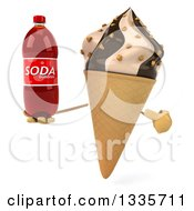 Clipart Of A 3d Chocolate And Vanilla Swirl Waffle Ice Cream Cone Character Holding And Pointing To A Soda Bottle Royalty Free Illustration