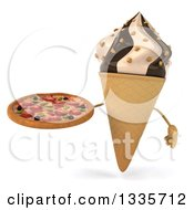 Clipart Of A 3d Chocolate And Vanilla Swirl Waffle Ice Cream Cone Character Holding A Pizza Royalty Free Illustration by Julos