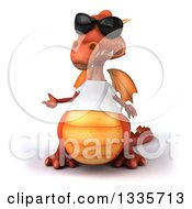 Clipart Of A 3d Casual Red Dragon Wearing A T Shirt And Sunglasses And Presenting Royalty Free Vector Illustration