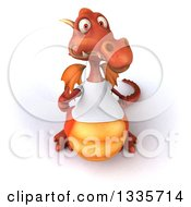 Clipart Of A 3d Casual Red Dragon Wearing A T Shirt And Holding Up A Thumb Royalty Free Vector Illustration