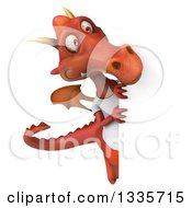 Clipart Of A 3d Casual Red Dragon Wearing A T Shirt And Looking Around A Sign Royalty Free Vector Illustration