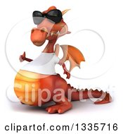 Clipart Of A 3d Casual Red Dragon Wearing A T Shirt And Sunglasses Facing Left And Giving A Thumb Up Royalty Free Vector Illustration