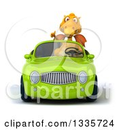 Clipart Of A 3d Yellow Dragon Giving A Thumb Up And Driving A Green Convertible Car Royalty Free Vector Illustration
