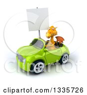 Clipart Of A 3d Yellow Dragon Holding A Blank Sign And Driving A Green Convertible Car 2 Royalty Free Vector Illustration