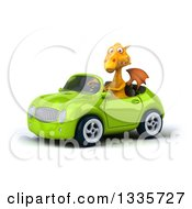 Clipart Of A 3d Yellow Dragon Driving A Green Convertible Car Royalty Free Vector Illustration