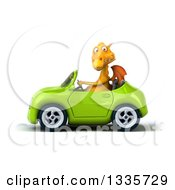 Clipart Of A 3d Yellow Dragon Driving A Green Convertible Car 2 Royalty Free Vector Illustration
