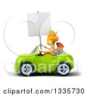 Clipart Of A 3d Yellow Dragon Holding A Blank Sign And Driving A Green Convertible Car Royalty Free Vector Illustration