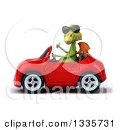 Clipart Of A 3d Green Dragon Wearing Sunglasses Giving A Thumb Up And Driving A Red Convertible Car Royalty Free Vector Illustration