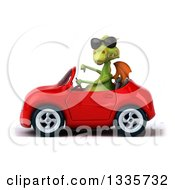 Clipart Of A 3d Green Dragon Wearing Sunglasses Giving A Thumb Down And Driving A Red Convertible Car Royalty Free Vector Illustration