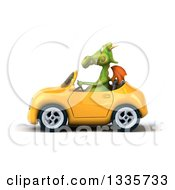Clipart Of A 3d Green Dragon Driving A Yellow Convertible Car Royalty Free Vector Illustration