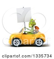 Clipart Of A 3d Green Dragon Holding A Blank Sign And Driving A Yellow Convertible Car Royalty Free Vector Illustration