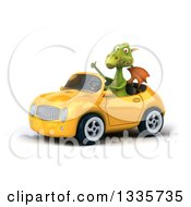 Clipart Of A 3d Green Dragon Giving A Thumb Up And Driving A Yellow Convertible Car Royalty Free Vector Illustration