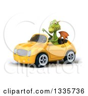 Clipart Of A 3d Green Dragon Giving A Thumb Down And Driving A Yellow Convertible Car Royalty Free Vector Illustration