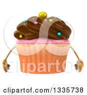 Clipart Of A 3d Chocolate Frosted Cupcake Character With Sprinkles Royalty Free Illustration