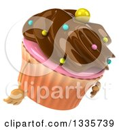 Clipart Of A 3d Chocolate Frosted Cupcake Character Facing Right And Pouting Royalty Free Illustration by Julos