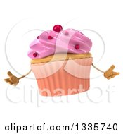 Clipart Of A 3d Pink Frosted Cupcake Character Shrugging Royalty Free Illustration by Julos